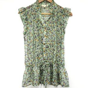 Anthro Mine Sheer Green Floral Ruffle Button Front